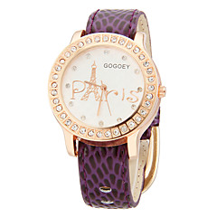 Tour Motif de femmes Cas PU bande de montre-bracelet à quartz cristal (couleurs assorties)