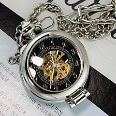 Mens Silver Black Magnifier Through Mechanic Skeleton Pocket Watch Cool Watch Unique Watch Fashion Watch
