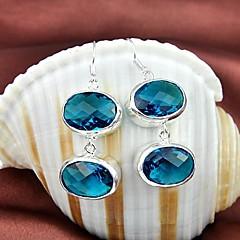 Blue Topaz Green Quartz Gemstone Daily Drop Silver Classis Earrings 1pair