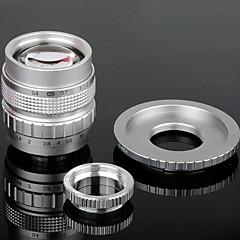 50mm F1.4 CCTV Lens C Mount + Macro Anéis + C-NEX Adapter Set Anel para Sony NEX-5C NEX-7 etc - Prata