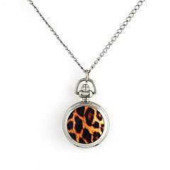 Women's Leopard Print Pattern Quartz Metallic Necklace Watch