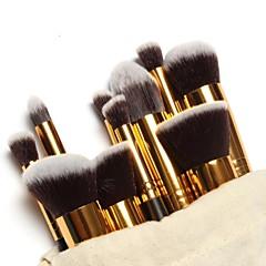 10-osainen ammattilaisten meikkisivellinsetti, kullanvärinen varsi, sisältää meikkilaukun