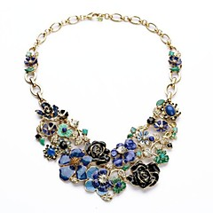 European Luxurious Blooming Blue Roses Flowers Necklaces (1 Pc)
