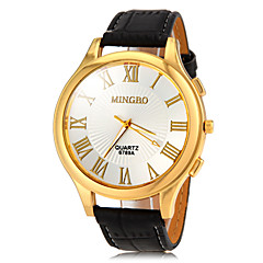 Men's Gold Roman Number Dial PU Band Quartz Wrist Watch(Assorted Colors) Cool Watch Unique Watch Fashion Watch