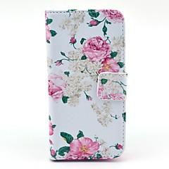 Big Rose kukkakuvio PU nahkainen korttipaikka ja jalusta Samsung Galaxy S4 mini I9190