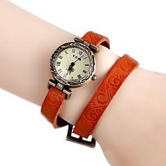 Women's Vintage Flower Engraved Long Leather Band Quartz Analog Bracelet Wrist Watch (Assorted Colors)