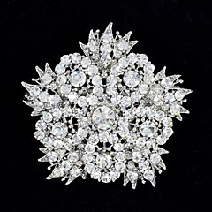 6,3 cm-es strasszos és ötvözött Sűrű nagy virág levelek bross pin for Woman Párt ékszerek