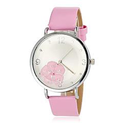 Patrón de flores de la Mujer Dial redondo pu banda de cuarzo reloj de pulsera (colores surtidos)