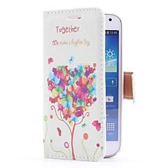 Funda de cuero Balloon Tree Style con ranura para tarjetas y soporte para Samsung Galaxy S4 Mini i9190