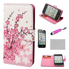 COCO FUN® Flora Flower Wallet Card Slots Full Body PU Leather Cases With Stand For iPhone 4S Included Film And Stylus