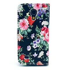 Black Rose kukkakuvio PU nahkainen korttipaikka ja jalusta Samsung Galaxy S4 mini I9190