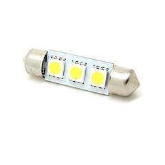 39mm 1W 3x5050 SMD LED 50lm 6000K White Lights Pinol Dome Kort License Plate Lampe Pære til bil (DC 12V)