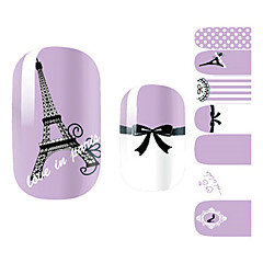 28PCS Purple Romantic Paris Design Nail Art Stickers