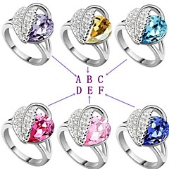 Acacia Leaves Elegant Austrian Ms Crystal Gem Ring Element
