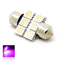 31mm 1W 6x5050 SMD LED 80lm Pink Lights Festoon Dome License Plate Lamp Bulb for Car (DC 12V)