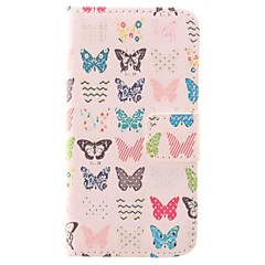 Color Paper Cutting Small Butterfly Design PU Protective Case with Card Slot for iPhone 4/4S