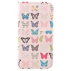Couleur du papier Petit étui de protection de conception de papillon PU coupe avec logement pour carte pour l'iPhone 4/4S