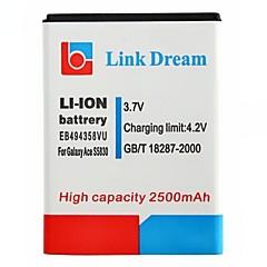 삼성 S5830 갤럭시 에이스 (EB494358VU)에 대한 링크 드림 고품질 3.7V 2500mAh를 휴대 전화 배터리