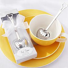 """""""Tea time"""" hart roestvrij staal thee-ei in elegante witte geschenkdoos, w16.5cm xl5cm"""