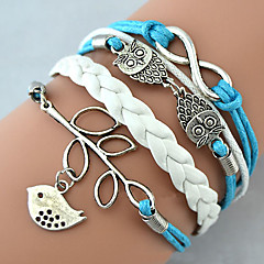 Multilayer Alloy Owl Leaves and Infinite Charms Handmade Leather Bracelets