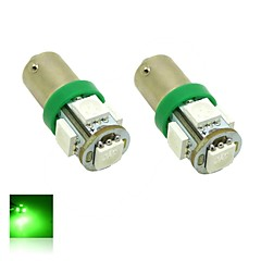 Ba9s T4W 1W 5X5050 SMD Green Lights LED Light Bulb for Car Lamp (DC 12V , 2-Pack)