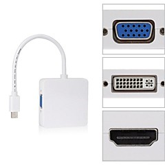 firkantet mini dp lyn til dvi vga hdmi hdtv adapter 3 i 1 for apple macbook air pro imac