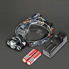 Hovedlygter LED 4.0 Modus 4000 Lumens Oppladbar / Strike Bezel Cree XM-L T6 18650 Camping/Vandring/Grotte Udforskning / Reise-Andre,Sort