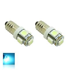 E10 1W 5X5050 SMD Crystal Blue Lights LED Bulb for Diy (DC 12V , 2-Pack)