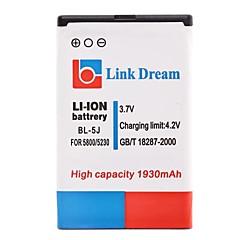 Enlace Dream High Quality 3.7V 1930 mAh de la batería del teléfono celular para Nokia 5800 5230 (BL-5J)