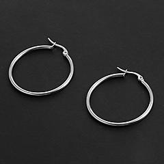 Mode Enkel 3.0cm Round Shape Silver rostfritt stål Hoop örhängen (1 par)
