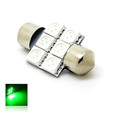 31mm 1W 6x5050 SMD LED 80lm Green Lights Festoon Dome License Plate Lamp Bulb for Car (DC 12V)