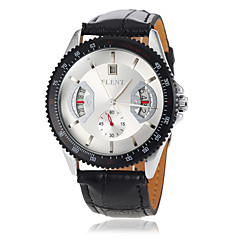 Herren Auto-Mechanische Kalender Schwarzes Leder-Band-Armbanduhr (verschiedene Farben)