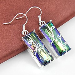 Natural Rainbow Mystic Topaz Gemstone Daily Drop Silver Classis Earrings 1pair