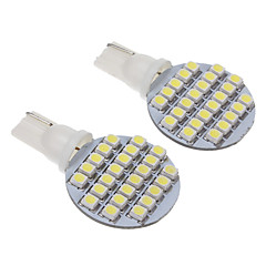 T10 3W 24-LED 240LM 6000K 3528SMD Cool White Light LED pære til bil (12V, 2stk)