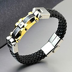 Luxury Brand Wholesale Golden Men Bracelet 316L Wrap Stainless Steel Charm Leather Bracelet