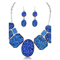 Europe America Fashion Natural Ore Top Grade Chain Necklace Drop Earrings Jewelry Sets