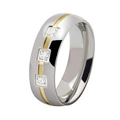 Divat rozsdamentes acél Intarziás cirkon sima és kényelmes Férfi Gyűrűk (1 db)