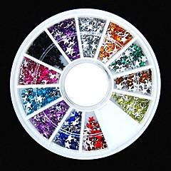 600pcs 12colours forma de la estrella de uñas rhinestones de acrílico rueda de la decoración del arte