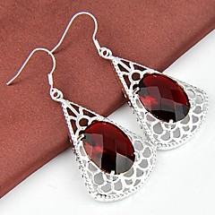 Classic Ruby Quatz Gemstone Daily Drop Silver Earrings 1pair