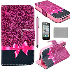COCO FUN®  Purple Leopard Pattern Wallet Card Slots PU Leather Cases With Stand For iPhone 4S Included Film And Stylus