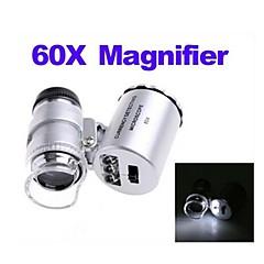 ZW-9882 60X Mini Plastic Optical Glass Magnifier Lens (3 * LR1130)