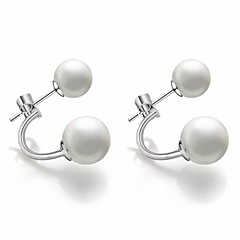 Women's Fashion Cute Retro Korean Version Of The Classic European And American Platinum Plated Sterling Silver Imitation Pearl Earrings