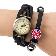 Men's Fashion Style  Retro Dial Leather Weave  British Flag Band  Wrist Watch(Assorted Colors) Cool Watch Unique Watch