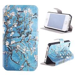 Rattan Flower Pattern PU Full Body Case with Card Slot and Stand for iPhone 4/4S