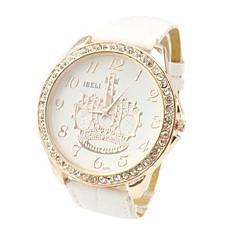 Fashion Style strass Cown grand cadran en cuir pour femme de quartz de bande de montre-bracelet (couleurs assorties)