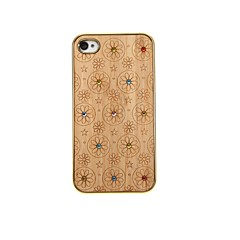 Lovely Rhinestone Flowers Pattern Wooden Hard  Case  for iPhone 4/4S