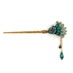 Vintage Open Screen Peacock Metal Diamond Hairpin(1Pc)