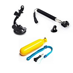 accessori GoPro 3 in 1 kit presa + monopiede + ventosa galleggianti per GoPro hero 1 2 3 3+ telecamere