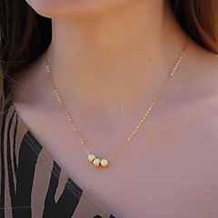 Shixin® Vintage Three Golden Bead Pendant Necklace(1 Pc)