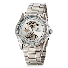 Men's Auto-Mechanical Business Style Hollow Engraving Silver Steel Band Wrist Watch (Assorted Colors)